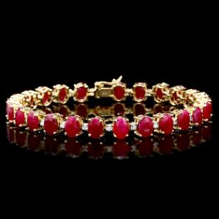 14k Gold 26.00ct Ruby 1.00ct Diamond Bracelet