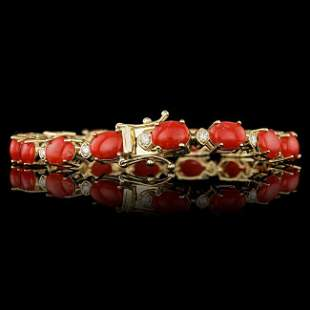 14k Gold 15.00ct Coral 0.80ct Diamond Bracelet