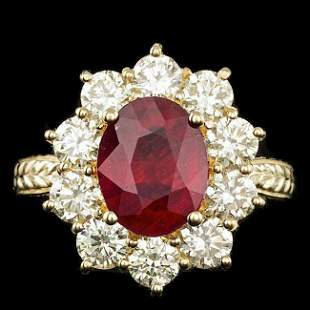 14k Yellow Gold 3.00ct Ruby 2.10ct Diamond Ring