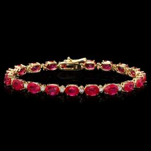 14k Gold 19.00ct Ruby 0.80ct Diamond Bracelet