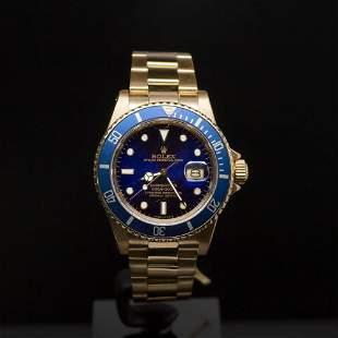 Rolex 18K Gold Submariner 40mm Blue Dial Men's