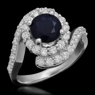 14k Gold 1.73ct Sapphire 1.10ct Diamond Ring