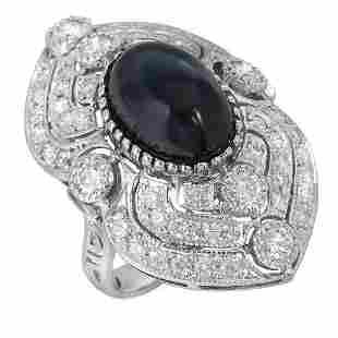 14K Gold 13.58ct Star Sapphire 2.47ct Diamond Ring