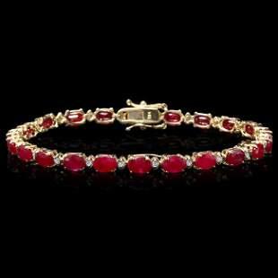 14k Gold 13.00ct Ruby 0.55ct Diamond Bracelet