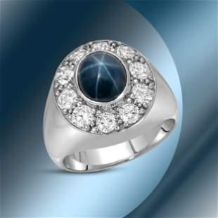 14K Gold 5.54cts Star Sapphire & 2.26cts Diamond Ring