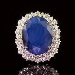 14K Gold 13.52ct Sapphire 2.05ct Diamond Ring