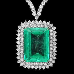 18k White Gold 32.50ct Emerald 11.50ct Diamond Necklace