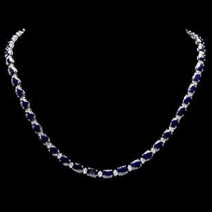 14k Gold 37ct Sapphire 1.85ct Diamond Necklace