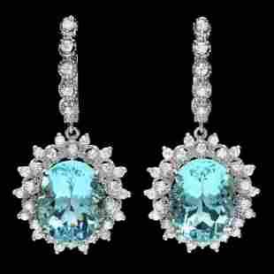 14k Gold 13ct Aquamarine 1.50ct Diamond Earrings