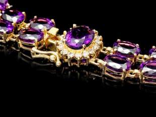 14k Gold 13ct Amethyst .55ct Diamond Bracelet