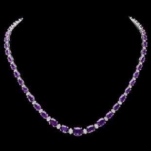 14k Gold 28.00ct Amethyst 1.40ct Diamond Necklace