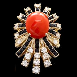 14k Yellow Gold 3.00ct Coral 1.55ct Diamond Ring