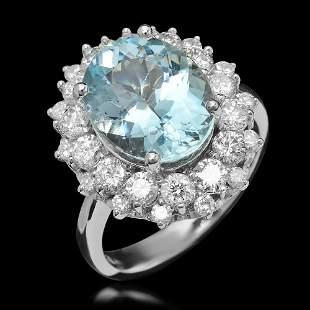 14K Gold 5.02ct Aquamarine & 1.76ct Diamond Ring