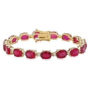8K Gold 30.66ct Ruby .8ct Diamond Bracelet