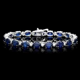 14k Gold 16ct Sapphire 0.75ct Diamond Bracelet