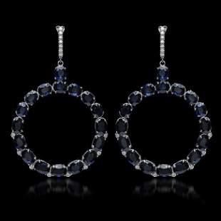 K Gold 30.46ct Sapphire 0.52ct Diamond Earrings