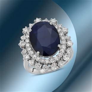 14K Gold 7.11cts Sapphire & 1.39cts Diamond Ring
