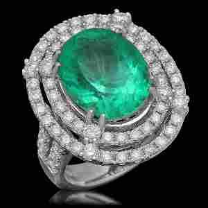 14K Gold 8.93ct Emerald 2.31ct Diamond Ring