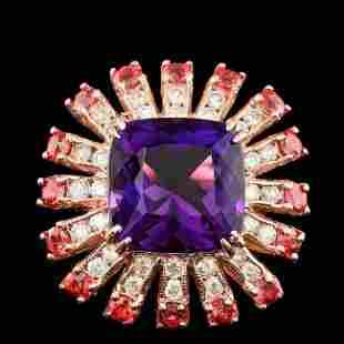 14k Rose Gold 7.50ct Amethyst 1.00ct Diamond Ring