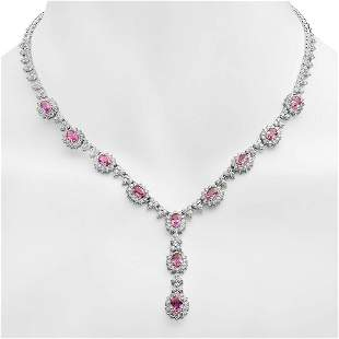 18K Gold 7.65ct Pink Sapphire 7.35ct Diamond Necklace