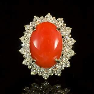 14K Gold 8.69ct Coral 2.98ct Diamond Ring