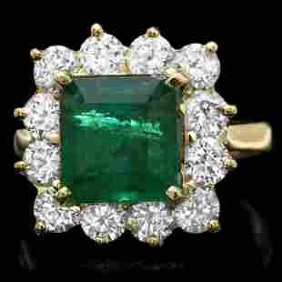 18k Gold 4.00ct Emerald 1.90ct Diamond Ring