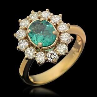 14K Gold 1.04ct Emerald 1.25ct Diamond Ring