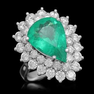 14K Gold 4.89 Emerald 2.65 Diamond Ring