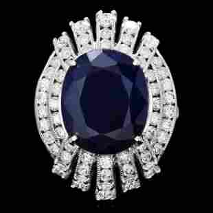 14k Gold 10.50ct Sapphire 1.90ct Diamond Ring