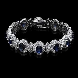 14K White Gold,14.00cts Sapphire & 11.64cts Diamond