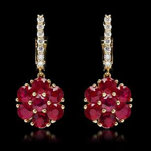 14k Yellow Gold 5.40ct Ruby 0.58ct Diamond Earrings