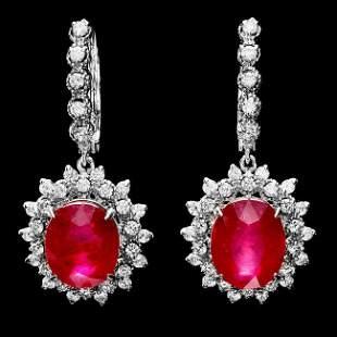 k Gold 14.15ct Ruby 1.80ct Diamond Earrings