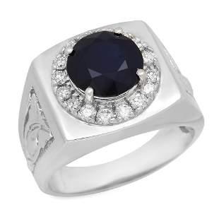 14K Gold 4.68ct Sapphire 0.64ct Diamond Ring