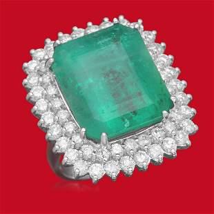 14K Gold 19.12 Emerald 2.75 Diamond Ring