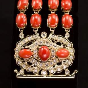 14K Gold 58.82ct Coral 1.21ct Diamond Bracelet