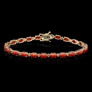 14k Gold 7.48ct Coral 0.50ct Diamond Bracelet