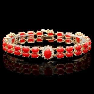 14k Gold 16.5ct Coral 1.20ct Diamond Bracelet