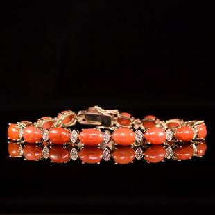 14K Gold 15.68ct Coral 0.80ct Diamond Bracelet