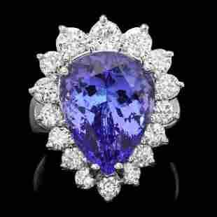 14k Gold 9.00ct Tanzanite 1.60ct Diamond Ring