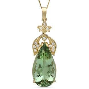14K Gold 22.94ct Amethyst 0.40ct Diamond Pendant