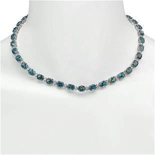14K Gold 52.70ct Topaz 2.40ct Diamond Necklace