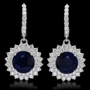 14K Gold 8.12ct Sapphire 2.89ct Diamond Earrings