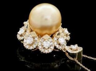 14k Yellow Gold 15mm Pearl 3.00ct Diamond Pendant