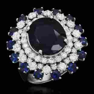 14K Gold 9.97ct Sapphire 2.31ct Diamond Ring