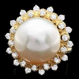 14k Gold 14 X 14mm Pearl 1.00ct Diamond Ring