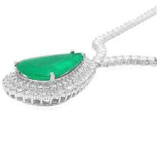 8K Gold 12.58ct Emerald 7.70ct Diamond Necklace