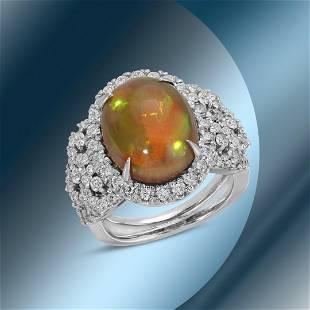 14K Gold 6.52cts Opal & 1.72cts Diamond Ring