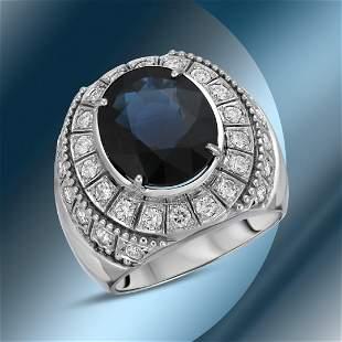 14K Gold 9.88cts Sapphire & 1.78cts Diamond Ring