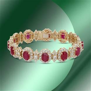 14K Gold 17.44cts Ruby & 11.96cts Diamond Bracelet