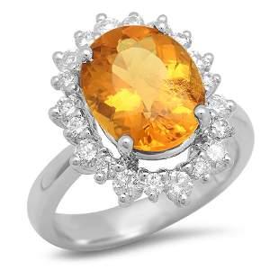 14K Gold 4.07ct Yellow Beryl 1.00cts Diamond Ring